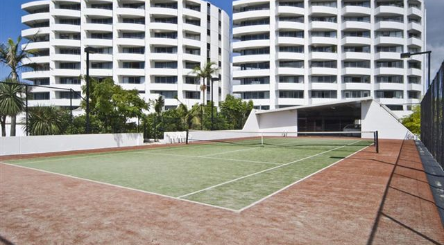 Tennis Court & Apartment Towers